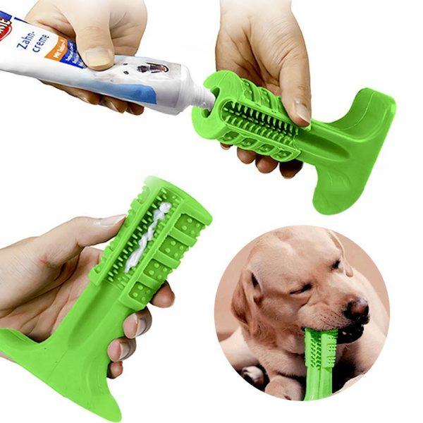Escova Dentes Mordedor Canina Cachorro Cao Pet Limpeza Bucal Remove Tartaro (azul/verde )