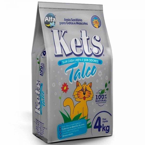 Areia higiênica para gatos perfumada talco Kets 4kg