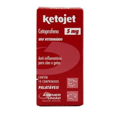 Ketojet 5mg 10 comprimidos Agener Anti-inflamatório Cães e Gatos