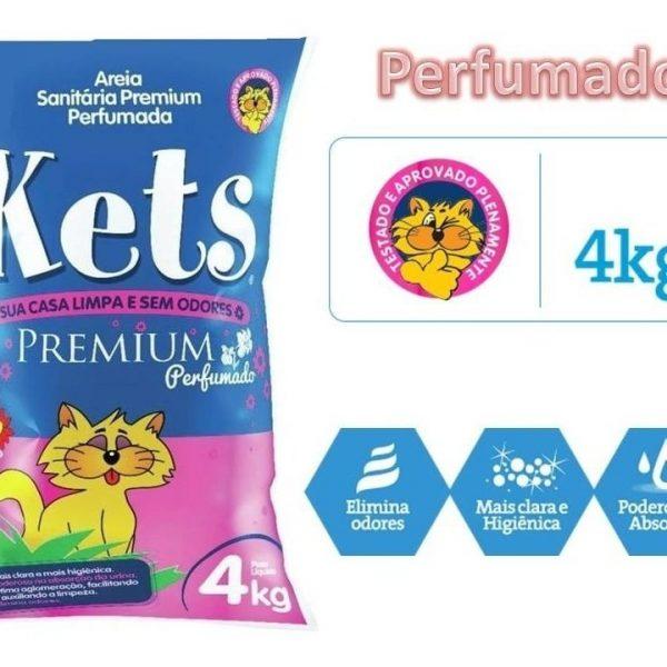 Areia Higiênica Kets Premium Perfumado 4kg