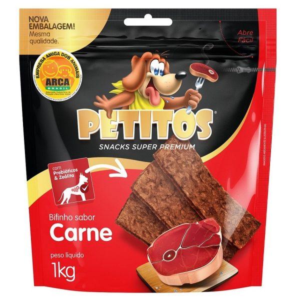 Snack Petitos Para Cães Bifinho Sabor Carne 1kg