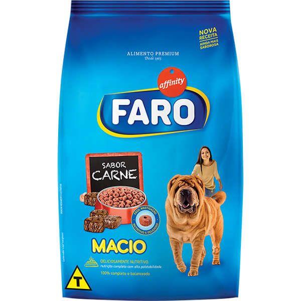 Ração Faro Macio Cães Filhotes e Adultos Carne 900gr