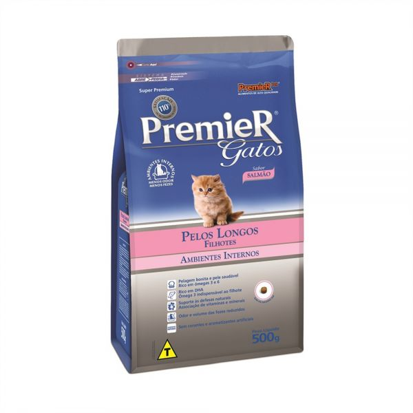 Ração Premier Pet Ambientes Internos Gatos Filhotes Pelos Longos Salmão 500 mg