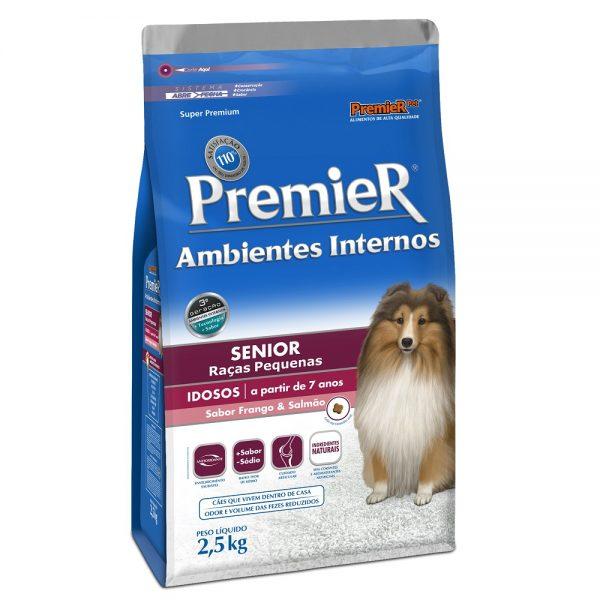 Ração Premier Senior Ambientes Internos para Cães Adultos 7+ Sabor Frango e Salmão 2,5kg