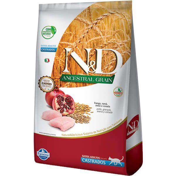 Ração Farmina N&D Ancestral Grain Frango Gatos Adultos Castrados 1,5 kg