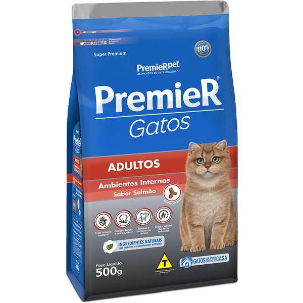 Ração Premier Pet Gatos Adultos Ambientes Internos Salmão 500 gr
