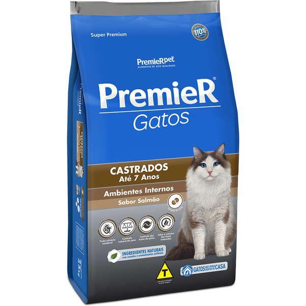 Ração Premier Pet Gatos Castrados até 7 anos Ambientes Internos Salmão 1,5 kg