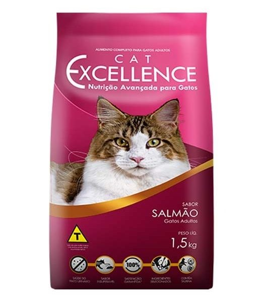 Ração Cat Excellence Para Gatos Adultos – Salmão – 1,5 Kg